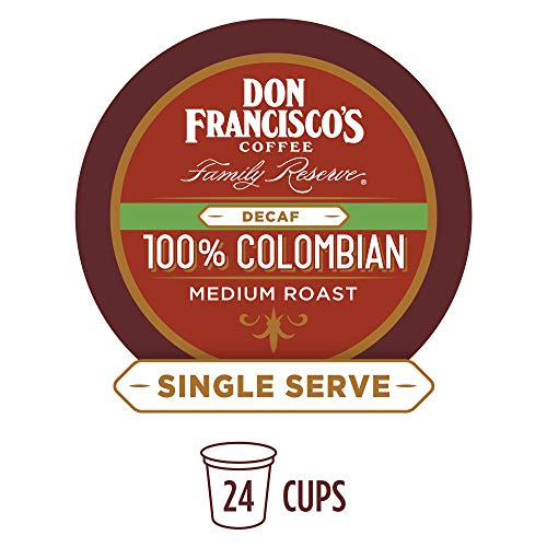 - Don Francisco's 100% Decaf Colombia Supremo (24 Pods) Medium Roast, Single Cup Coffee Pods, Compatible with Keurig K-Cup Machines