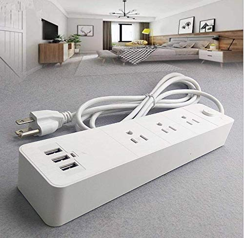 Multi-Function Desktop Power Strip, Surge Protector, 3 USB Ports 3 AC Outlets, Overload Protection, Power Bar, Charging Station, Multitude Outlets, 6.6ft Extension Plug,Expansion Socket