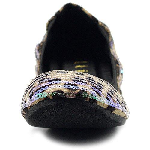 Ollio Women's Shoe Ballet Multi Color Spangle Comfort Flat