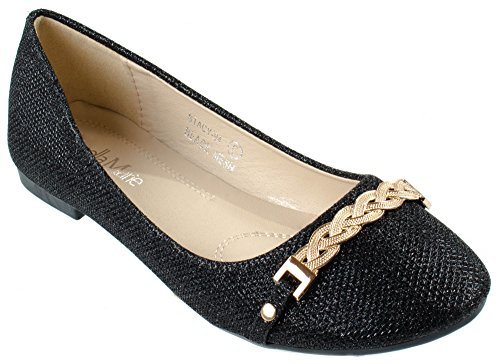 Womens Stacy With 94 Marie Braid Bella Glittering Black Chain Shoes Flats wxESWP