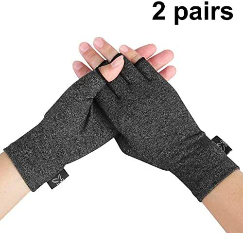 Compression Arthritis Gloves, 2 Pairs Open Finger Hand Gloves for Women Men, Fingerless Design to Relieve Painfrom Rheumatoid and Osteoarthritis(Black, Small)