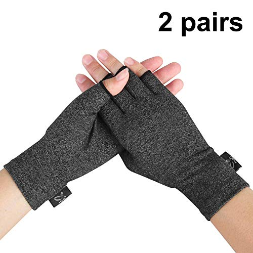 Compression Gloves, 2 Pairs Open Finger Hand Arthritis Gloves for Women Men, Fingerless Design to Relieve Painfrom Rheumatoid and Osteoarthritis(Black, Medium)