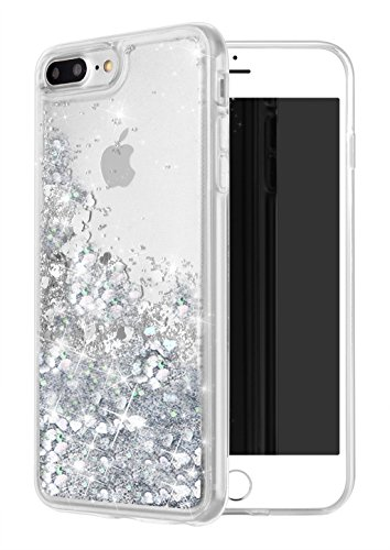 iphone 7 Plus Case, iPhone 8 Plus Case, WORLDMOM Double layer Design Bling Flowing Liquid Floating Sparkle Colorful Glitter Waterfall TPU Protective Phone Case for iPhone 7 Plus/ 8 Plus [5.5], Silver