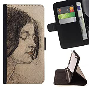 Momo Phone Case / Flip Funda de Cuero Case Cover - Portrait Woman Brunette - Samsung Galaxy S6 Active G890A