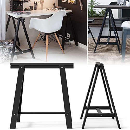 Set of 2 Durable Solid Wood Trestle Legs for Table , Desk or Workstation , Black (Legs Sawhorse)