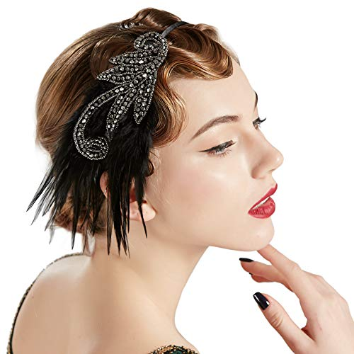 BABEYOND 1920s Flapper Headband Accessories Roaring 20s Feather