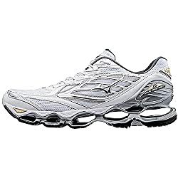 Mizuno Running Men's Mizuno Wave Prophecy 6 Running Shoe, Whitesilvergold, 10.5 D Us