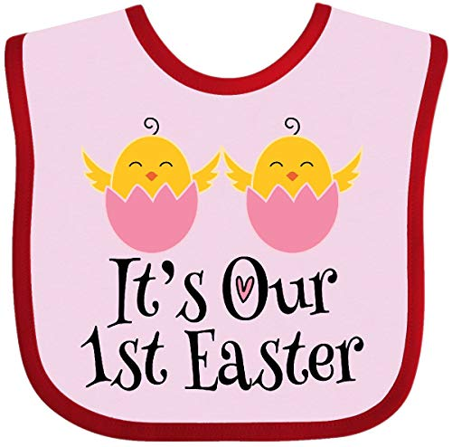 (Inktastic - Twin Girls 1st Easter Holiday Chick Baby Bib Pink and Red 2ea36)