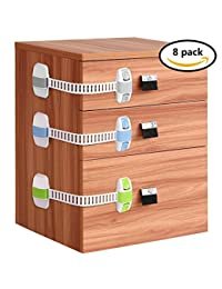 Baby Safety Cabinet Locks Willceal 8 Pack Double Insurance Adjustable Child Safety Latch for Cabinet,Refrigerator,Drawer,Toilet,etc. (Grey) BOBEBE Online Baby Store From New York to Miami and Los Angeles