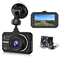 【2019 New Version】 CHORTAU Dash Cam FHD 1080P 3 Inch Dual Lens with 170° Wide Angle and Waterproof Rear Camera,Dashboard Camera with Super Night Version, WDR, Motion Detection, Parking Monitor