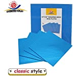 "4 Pack 10"" x 10"" Blue Building Brick BasePlates Compatible with all Major Brands"