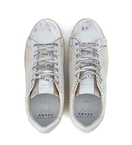 Leder Crown Schoenen Geperforeerd Leer Witte Uitstekende Optische Wit