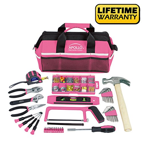 Apollo Tools DT0020P 201 Piece Household Tool Kit with Most Reached Tools in a Sturdy Tool Bag Pink (Tool Bag Set)
