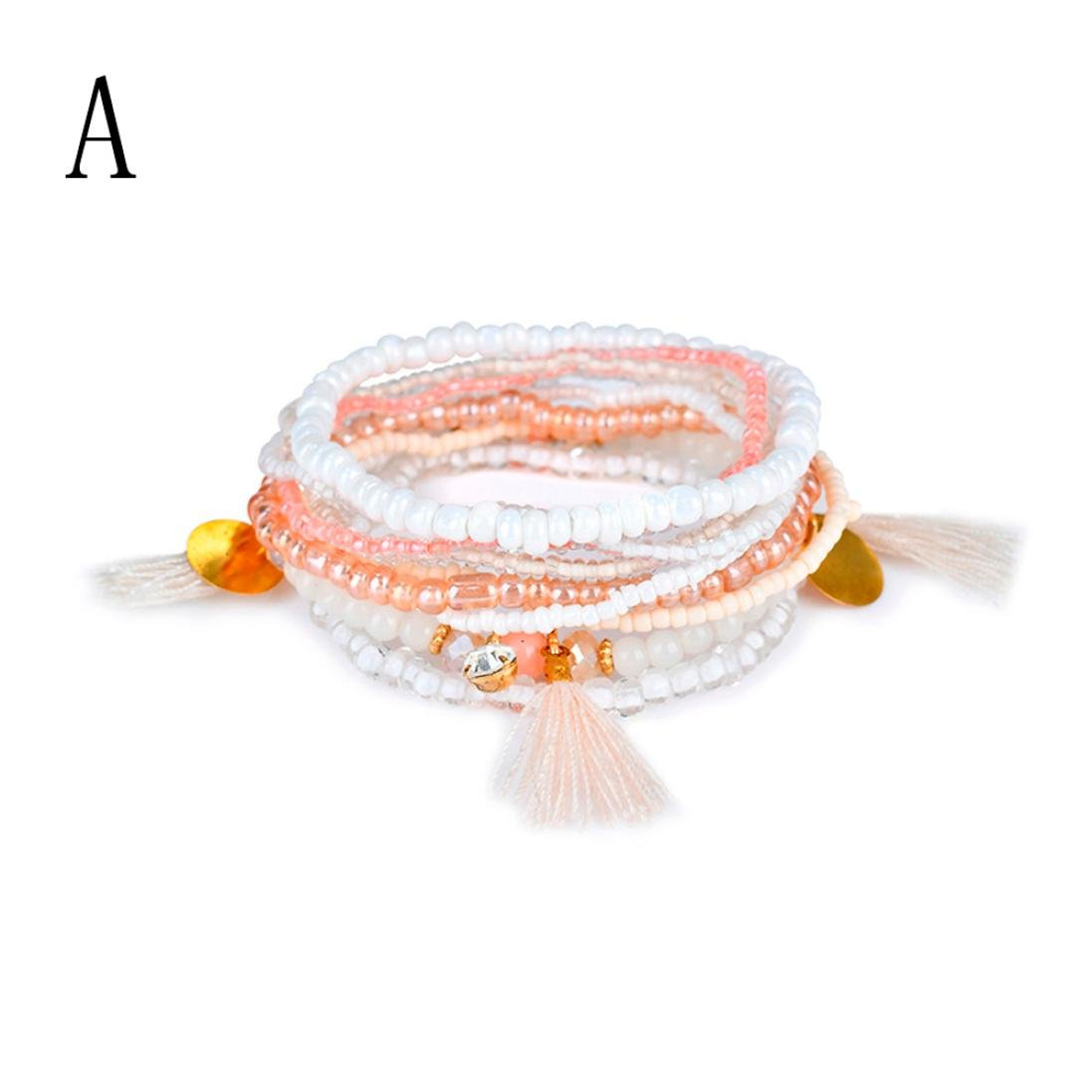 Swyss 1Set Jelly-Colored 1Set Stretch Beaded Bohemian Lady Bracelet Bangle Chic Jewelry New HOT Fashion (A #Tassel)