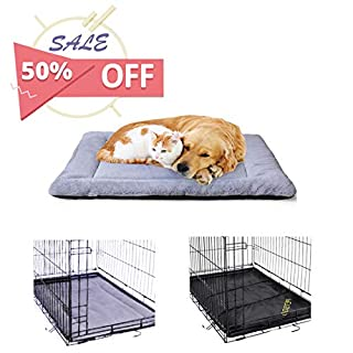 PETSGO Super Soft Crate Mats(1 in High Dog & Cat Beds for Crates-(Not Suit Chewer) Machine Wash & Dryer Friendly-Anti-Slip Pet Beds for Pets Sleeping