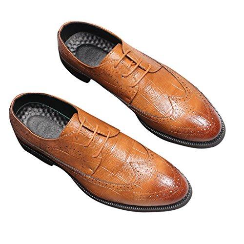 Jaune PU Lacets Oxfords de à Bout D'Affaires Chaussures Ville Chaussures Hommes Neuves pour Cuir qianchuangyuan 0x6gn
