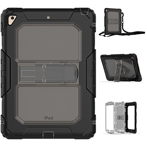 New iPad Case, FITVERS Three Layer Heavy Duty Hard Bumper Case Kickstand Shoulder Strap Drop Proof Protective Case for New iPad 2017 9.7 inch / iPad Air 2 / iPad Pro 9.7 + Free STYLUS - -(Clear/Gray) by FITVERS