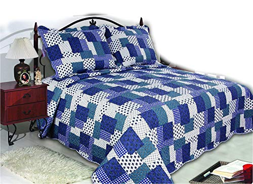 """ALL FOR YOU 3-Piece Reversible Bedspread, Coverlet, Quilt Set-King Size 90"""" X 100""""-Blue Patchwork Prints"""