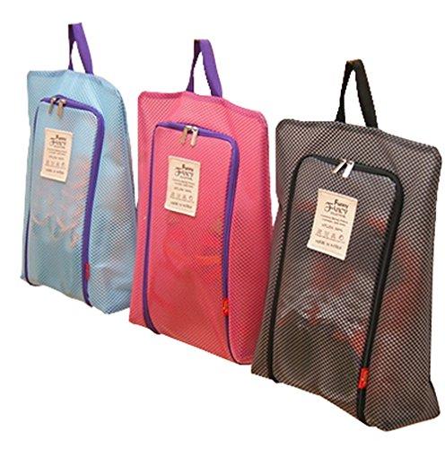 Elife Pack of 3-Blue, Hot Pink, Black Mesh Pattern Waterproof Nylon Portable Travel Shoe Storage Bag Pouch