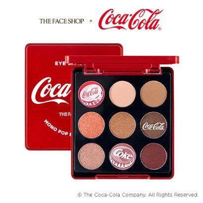 the face shop x coca-cola mono pop eyes coca cola 01 coke red eye shadow palette 9 colors