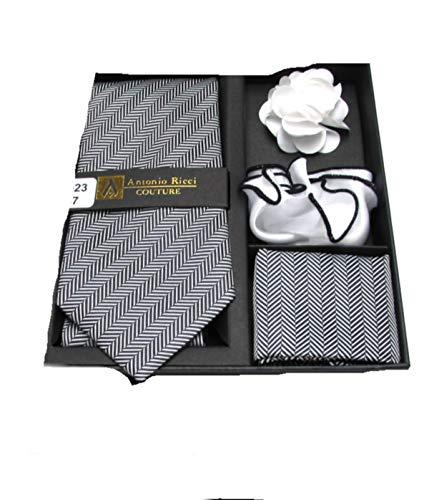 (Men's 4 PC Contemporary Stripe Tie Necktie, Two Pocket Squares & Flower Lapel Pin Set (Black & White))
