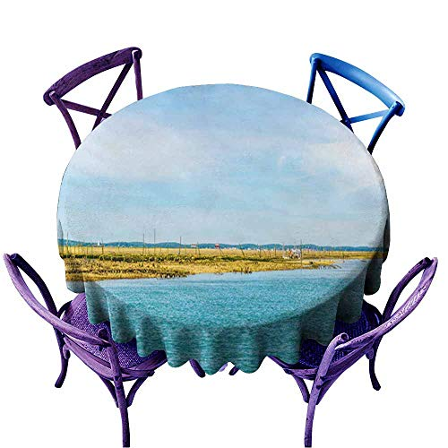Acelik Water Resistant Table Cloth,Marshes and Oyster Farms on The ILE aux Oiseaux Near Arcachon France,Resistant/Spill-Proof/Waterproof Table Cover,55 INCH