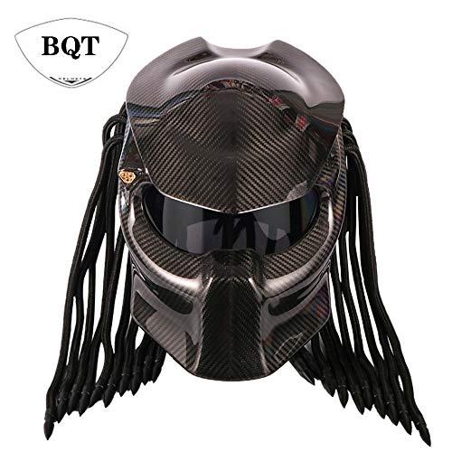 - BQT Motorcycle Predator Carbon Fiber Helmet, Full Face Helmet Anti-Fog Lens Four Season Men and Women Helmet with Light, Removable and Washable Mat, DOT Safety Certified(Black),M