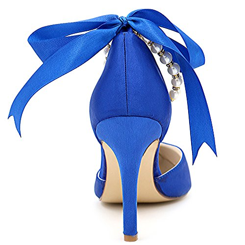 Loslandifen Damesschoenen T-strap Rhinestone Bloemen Stiletto Hoge Hakken Bruids Pumps Blauw Satijn / 22b