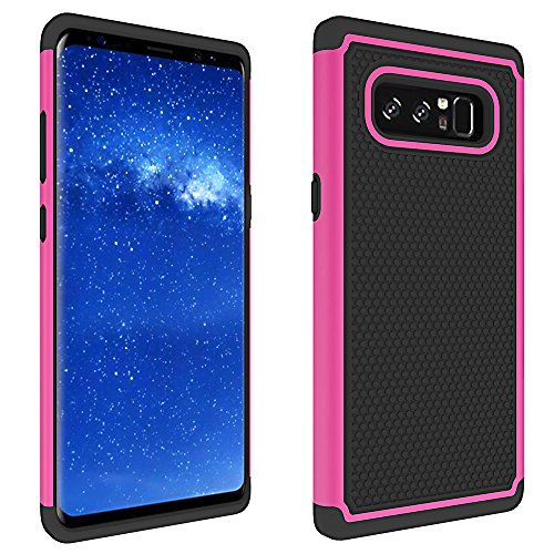 Price comparison product image GreenElec Galaxy Note 8 Case - [Anti-slip] Dual Layer Hybrid Hard PC Back Soft TPU Drop Resistant Ergonomic Design Grip Full Body Protective For Samsung Galaxy Note 8 (Black Rose)