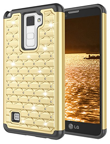 - LG Stylus 2 Case, LG Stylo 2 Case for Girls, Jeylly Bling Crystal Studded Rhinestone Hybrid Dual Layer Armor Defender Shockproof Protective Case for LG Stylo 2 LS775/LG Stylus 2 - Gold