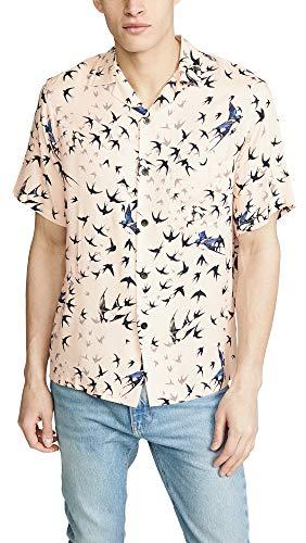 Portuguese Flannel Men's Andorhina Camp Shirt, Beige/Pastel Pink, Large ()