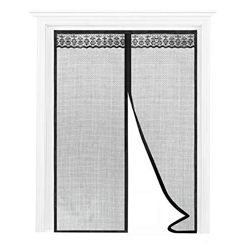 Joypea Magnetic Screen Door with Durable Fiberglass Double Door Screen Mesh Curtain and Full Frame Hook Loop Fits Door Size up to 72