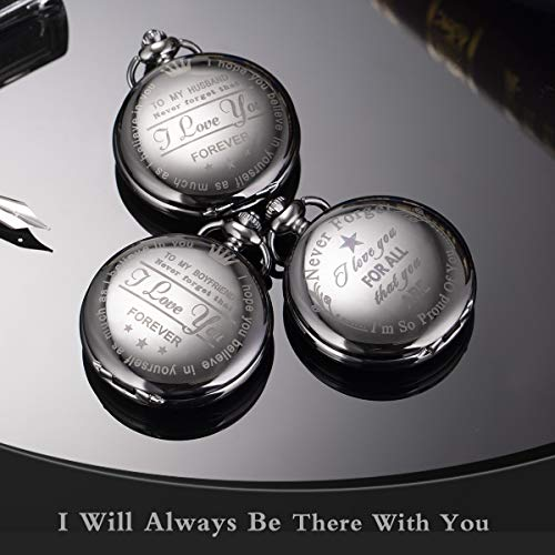 Pocket Watch Men Personalized Black Chain SIBOSUN I Love You for All That You are I am So Proud of You by SIBOSUN (Image #1)