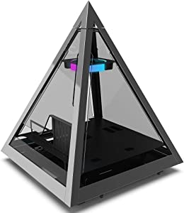 Azza CSAZ-804V Pyramid Innovative PC Case W/RGB Fan, Black