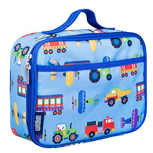 Wildkin Blue Olive Kids, Planes, and Trucks Lunch Box, Trains, Planes & Trucks