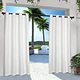108 curtain panels pair - Exclusive Home Curtains Indoor/Outdoor Solid Cabana Grommet Top Window Curtain Panel Pair, Winter White, 54x108