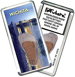 """product image for Wichita, KS """"FootWhere"""" Souvenir Fridge Magnet. Made in USA (WCT206 - Ex Center)"""