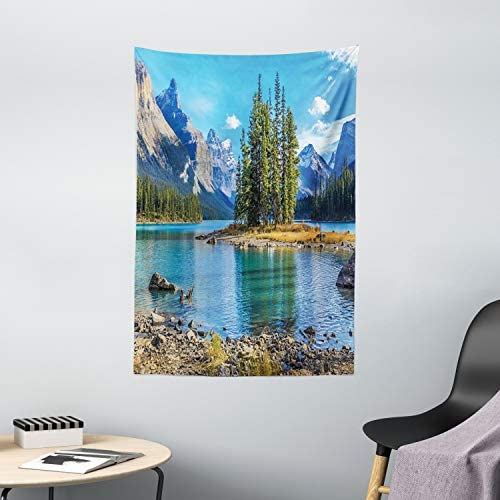 Ambesonne Mountain Tapestry, Scenery of Spirit Island and Maligne Lake Canada in Summer Mountains, Wall Hanging for Bedroom Living Room Dorm Decor, 40 X 60 , Blue Green