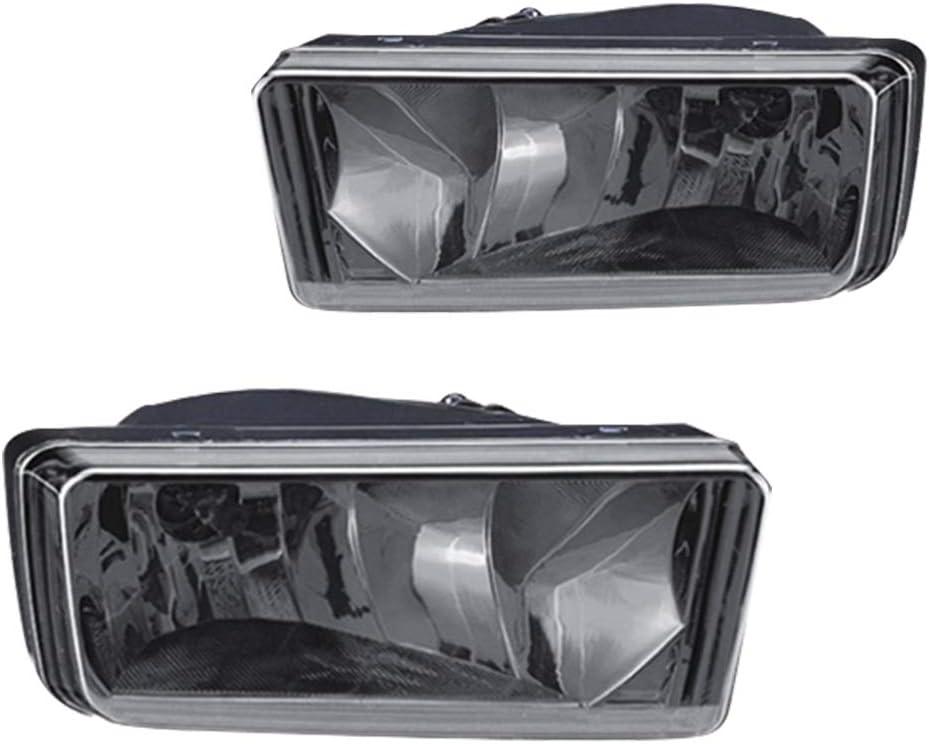 GM2593160 Driving Fog Lights Lamps Replacement for 2007-2014 Chevy Silverado 1500 2500 3500 Suburban Tahoe; 2007-2014 GMC Sierra,Yukon With H8 12V 35W Halogen Bulbs 25883245 Smoke Lens