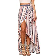 Imixshop Women's High-waisted Boho Chiffon Maxi Skirt Dress Wrapped Beach Cover up