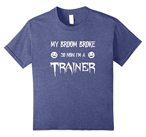 Gym Coach Halloween Costumes (Kids My Broom Broke So Now I'm A Trainer T-Shirt for Halloween 8 Heather Blue)