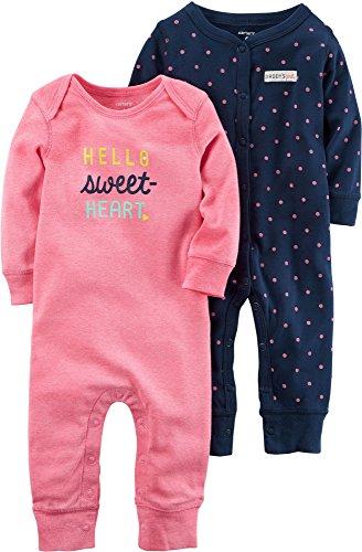 Carter's Baby Girls' 2-Pack Heart Print Coveralls 6 Months (Polka Dot Nap)