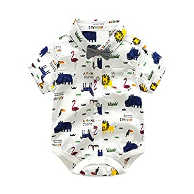 NUWFOR Infant Baby Boys Gentleman Bow Tie Romper+Shorts Overalls Outfits Clothes White