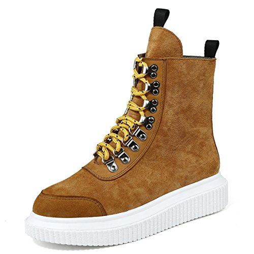 Plateforme Cuir Boots Femmes Roseg Creeper Punk Bottes High Orange Top xFRIRnZq0