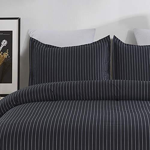 Vaulia 100% Cotton Duvet Cover Set - Twill Weave Fabric Structure, with Hidden Zipper Closure, Dark Grey Pinstripe - Queen ()