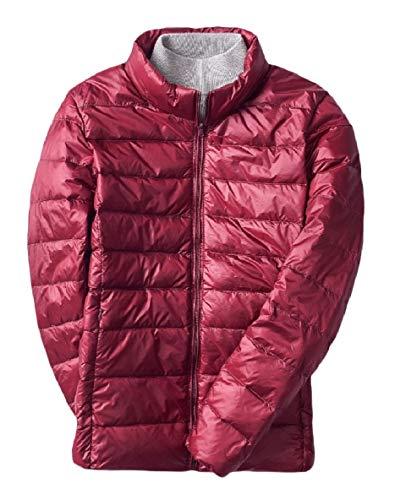 XINHEO Men Outwear Puffer Short Style Stand Collar Ultra Lightweight Down Coat Wine Red