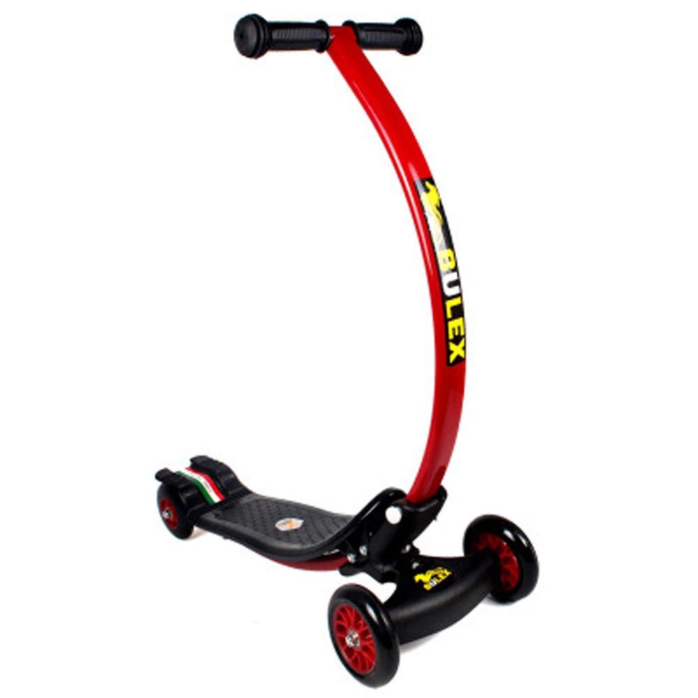 Giow Kinderroller, Tretbremsen Klappbar 4 Räder Abriebfeste Pu-Räder C-Bars schwarz