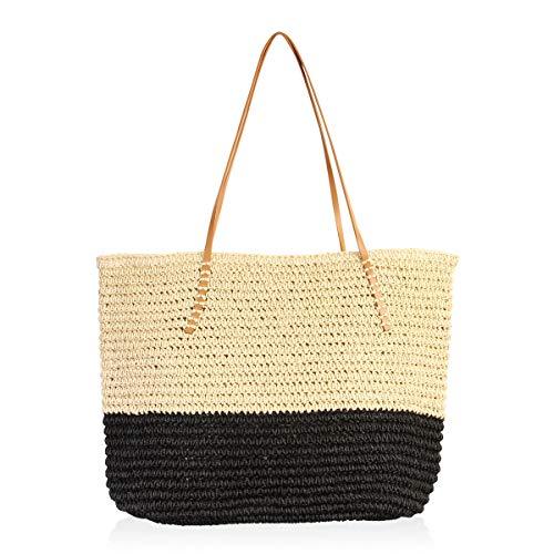 - RIAH FASHION Boho Rattan Crochet Straw Woven Basket Bali Handbag - Round Circle Crossbody/Shopper Beach Tote Bag (Colorblock Beach Tote - Black)
