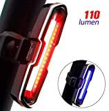 DON PEREGRINO B2-110 Lumens LED Rear Bike Light Red/Blue, USB Rechargeable Powerful Bicycle Tail Light for Cycling Safety