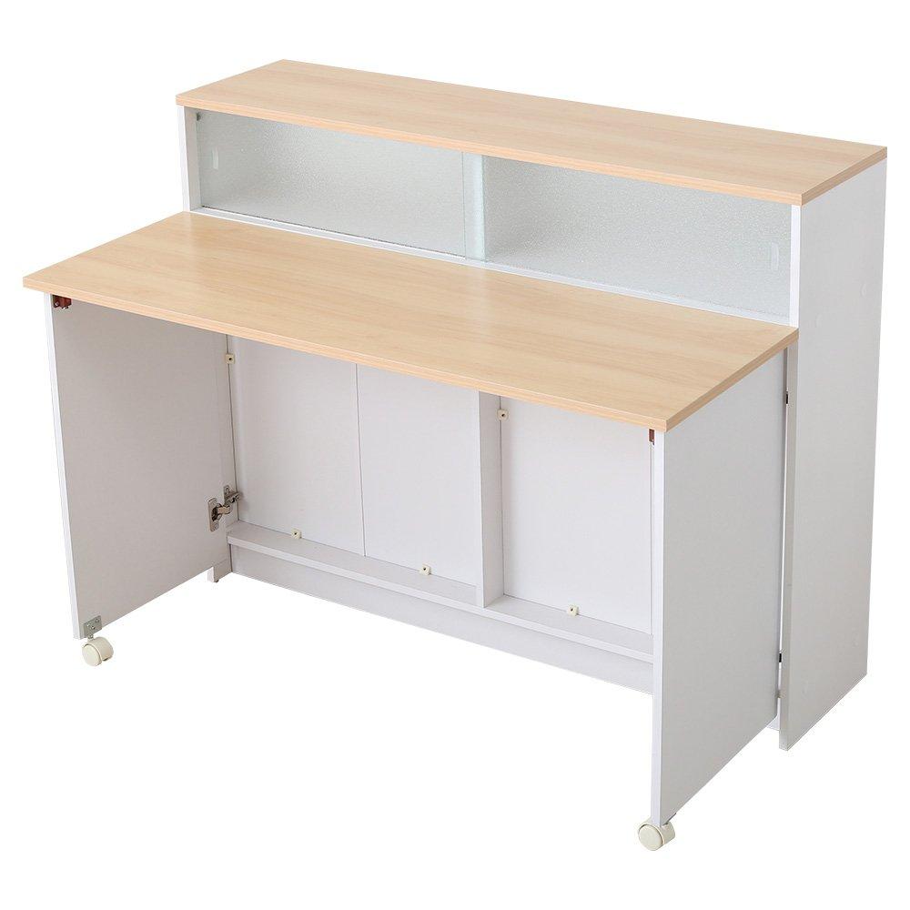 おしゃれでシンプルなキッチンカウンター間仕切りキッチンワゴン ナチュラル(台所収納キッチン収納) B07238XYTG ナチュラル